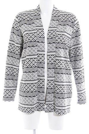 H&M Cardigan weiß-schwarz abstraktes Muster Casual-Look
