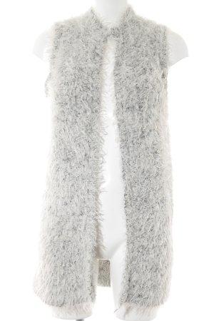 H&M Cardigan weiß-schwarz meliert Kuschel-Optik