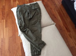 H&M Cargo Pants green grey-olive green cotton