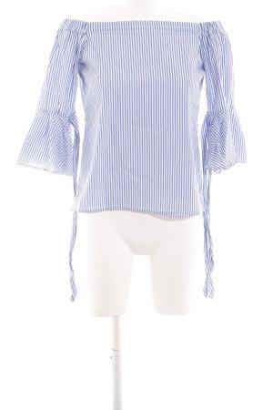 H&M Blusa alla Carmen blu-bianco stampa integrale stile casual