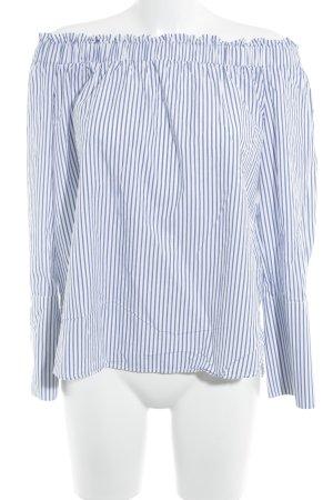 H&M Carmen blouse wit-blauw gestreept patroon casual uitstraling