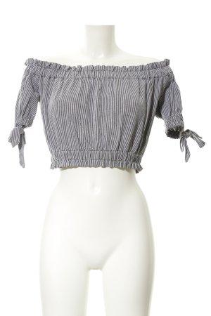 H&M Carmen-Bluse weiß-grau Streifenmuster Casual-Look