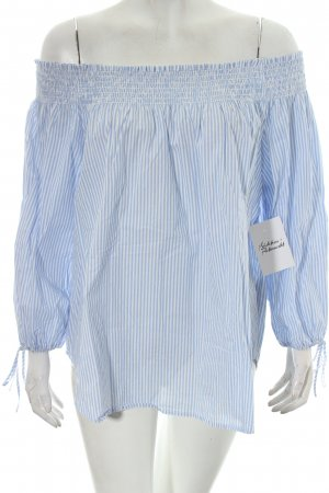 H&M Carmen-Bluse weiß-hellblau Streifenmuster Romantik-Look