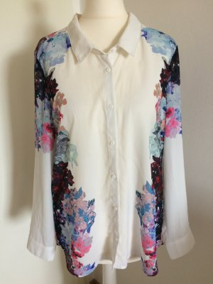 H&M Long Sleeve Blouse white-neon blue