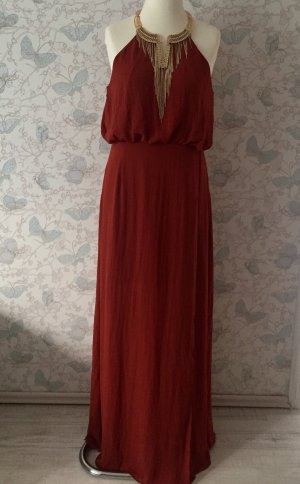 H&M Chiffon-Kleid, Maxi-Kleid, rot-braun, Gr. 42 Neu