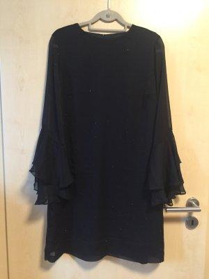 H&M Chiffon-Kleid schwarz mit schwarzen Strass-Nieten und Volant-Ärmeln
