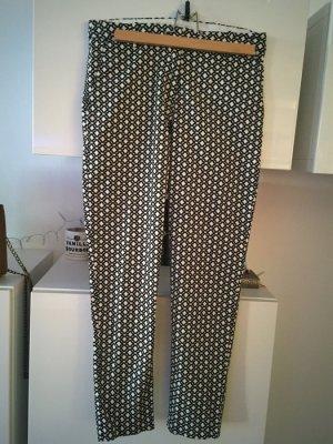 H&M Chino Hose schwarz-weiß Muster Gr 38 neu