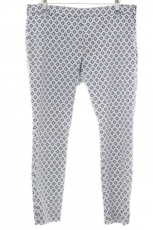 H&M Chinohose weiß-dunkelblau grafisches Muster Business-Look