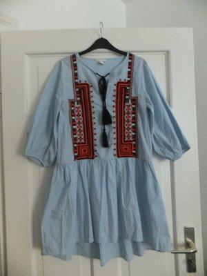 H&M City Diaries Kleid 40 Boho Hippie bestickt Hellblau neuwertig