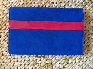 H&M Clutch mit Kette blau pink NEU Handtasche Umhängetasche