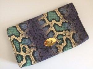 H&M Clutch neu Schlangen Muster Snake Sommer Frühling Abend Party Mint Blau