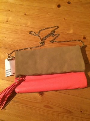H&M Clutch Orange Beige NEU