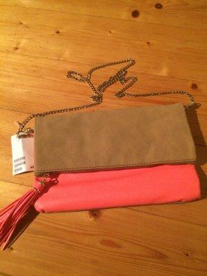 H&M Clutch Orange Beige NEU