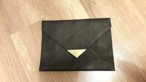 H&M Clutch schwarz gold Briefumschlag Stil Flap Bag Envelope