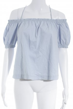 H&M Conscious Collection Carmen-Bluse hellblau Romantik-Look