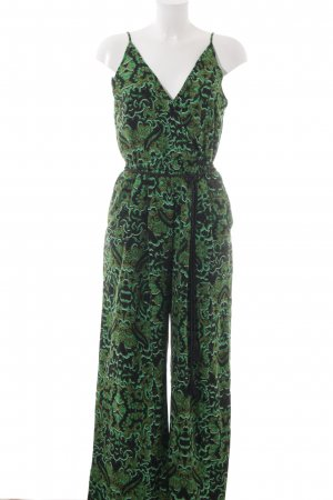 H&M Conscious Collection Jumpsuit schwarz-grün grafisches Muster Casual-Look