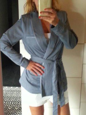 H&M Conscious Collection Kimono Pyjama Jacke Blazer Bluse blau Paspel Blogger