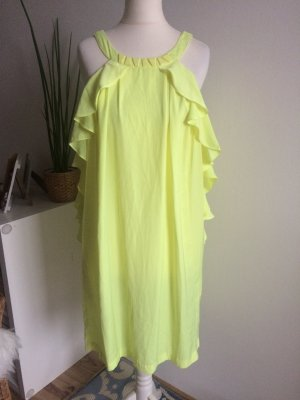 H&M Conscious Collection Kleid 36 S neu neon geld Volant Sommer