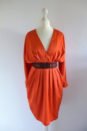 H&M Conscious Collection Kleid Langarm Party Abendkleid burnt orange Gr. 36 S