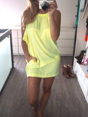 H&M Conscious Collection Kleid neon gelb Volants XS 34 Ibiza Blogger Style