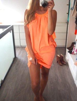 H&M Conscious Collection Kleid neon orange Volants XS 34 Ibiza Blogger Style