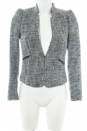 H&M Conscious Collection Kurz-Blazer weiß-schwarz Webmuster Business-Look