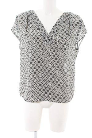 H&M Conscious Collection Kurzarm-Bluse wollweiß-schwarz abstraktes Muster