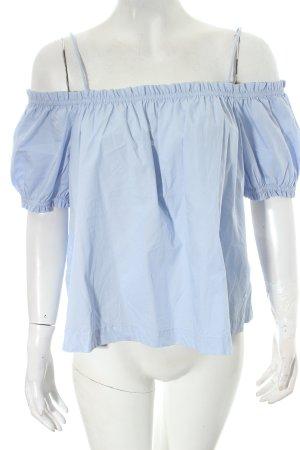 H&M Conscious Collection Kurzarm-Bluse hellblau Romantik-Look