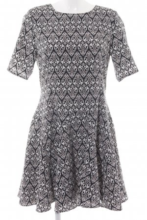 H&M Conscious Collection Kurzarmkleid schwarz-weiß Allover-Druck