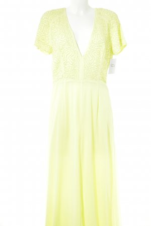 H&M Conscious Collection Maxikleid limettengelb Perlenverzierung