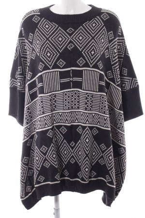 H&M Conscious Collection Poncho anthracite-cream Aztec pattern casual look