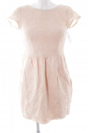 H&M Conscious Collection Spitzenkleid apricot florales Muster Spitzen-Optik