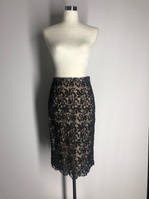 H&M Conscious Collection Lace Skirt black-nude cotton