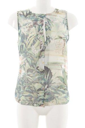 H&M Conscious Collection Transparenz-Bluse grün-wollweiß Allover-Druck