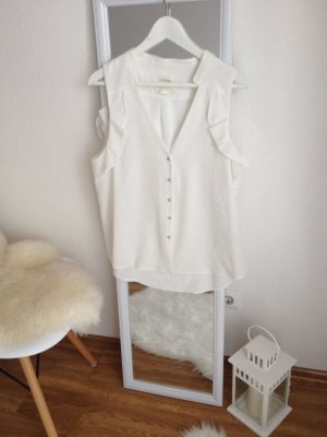H&M Conscious Collection Trend Bluse Rüschen Volants 44 off white weiss Creme