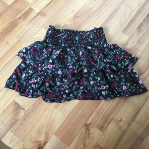 H&M conscious rock lagenrock minirock xs 32 einmal getragen geblümt gemustert floral blumen