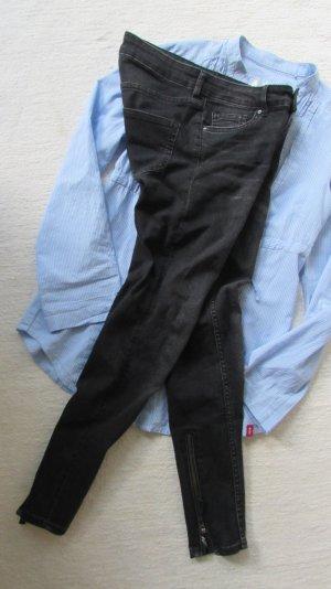 H&M*Coole destroyed Stretch skinny Jeans*schwarz Reißverschluss*S
