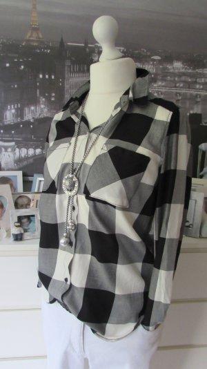 H&M * Coole Longbluse Hemdbluse * schwarz-weiß BigKaro * XS=34