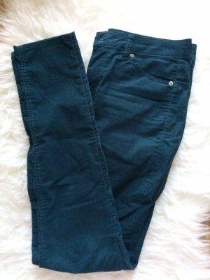 H&M Cord Hose Röhren Jeans Skinny 38 M petrol neu