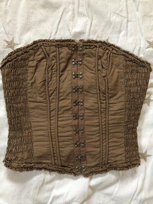 H&M Divided Haut type corsage gris brun coton