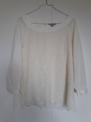 H&M Lace Blouse cream-natural white mixture fibre