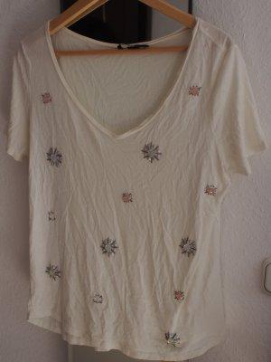H&M cremefarbenes -Shirt mit Glitzer Steinchen mit Mängeln
