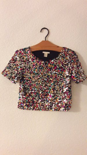H&M Crop Cropshirt Croptop Short Pailletten Glitzer Party 36