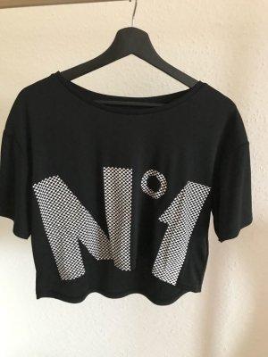 H&M T-shirt court noir-blanc