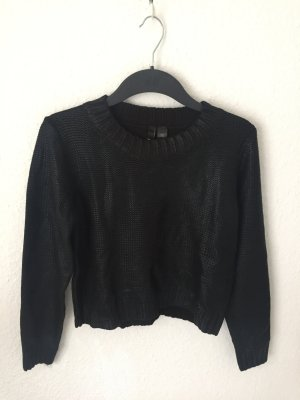 H&M cropped Pullover mit Glanzfinish