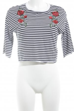 H&M Cropped Shirt dark blue-natural white flower pattern casual look