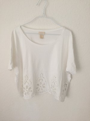 H&M cropped Shirt mit Stickerei