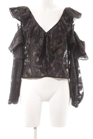 H&M T-shirt court noir motif floral style extravagant