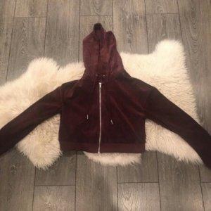 H&M cropped Sweatshirtjacke aus Samt weinrot