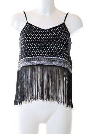 H&M Cropped Top schwarz-weiß Allover-Druck Party-Look